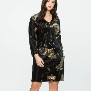 Eloquii Long Sleeve Sequin Shift Dress